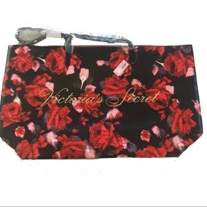 VICTORIA'S SECRET Red Floral Tote NWT